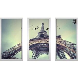 """Eiffel Tower 3"" Framed Plexiglass Wall Art Set of 3"