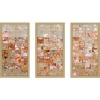 "Mark Lawrence ""Orange And Beige Max"" Framed Plexiglass Wall Art Set of 3"