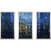 "Mark Lawrence ""Mediterranean Blue Max"" Framed Plexiglass Wall Art Set of 3"