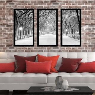 """Winter Park"" Framed Plexiglass Wall Art Set of 3"