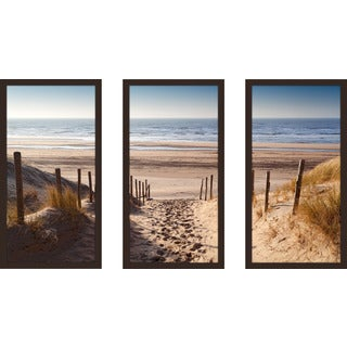 """Path To Ocean"" Framed Plexiglass Wall Art Set of 3"