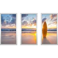 """Surfboard 1"" Framed Plexiglass Wall Art Set of 3"