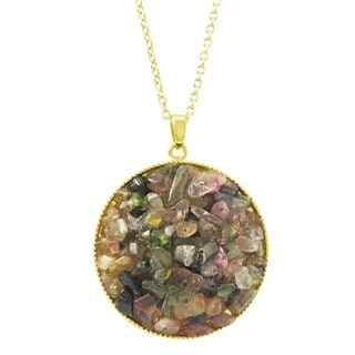 Luxiro Gold Finish Tourmaline Semi-precious Gemstone Circle Pendant Necklace