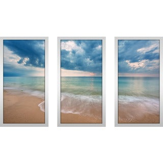 """Linger By The Sea"" Framed Plexiglass Wall Art Set of 3"