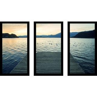 """Dock Night"" Framed Plexiglass Wall Art Set of 3"