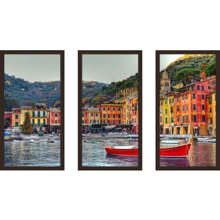 """Portofino, Italy Ii"" Framed Plexiglass Wall Art Set of 3"