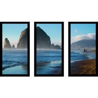 """Cannon Beach Landscape, Oregon Usa"" Framed Plexiglass Wall Art Set of 3"