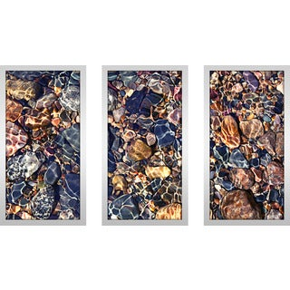 """Water Stones 9"" Framed Plexiglass Wall Art Set of 3"