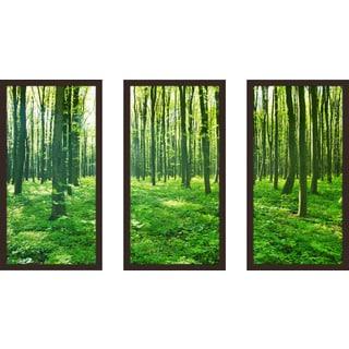 """""""Green Forest"""" Framed Plexiglass Wall Art Set of 3"""