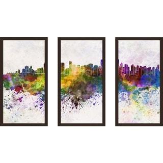 """Vancouver"" Framed Plexiglass Wall Art Set of 3"