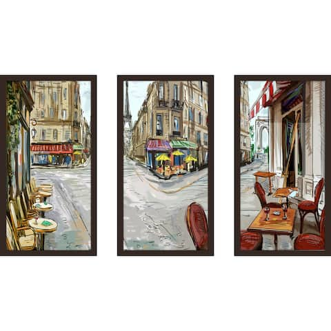 """Day In Paris"" Framed Plexiglass Wall Art Set of 3"