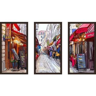 """Restaurants"" Framed Plexiglass Wall Art Set of 3"