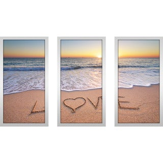"""Love"" Framed Plexiglass Wall Art Set of 3"
