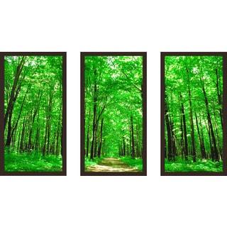 """Bright Summer Forest Ii"" Framed Plexiglass Wall Art Set of 3"