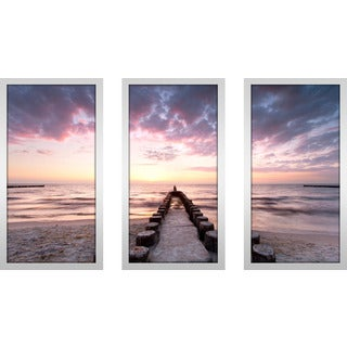 """Sunset Waters"" Framed Plexiglass Wall Art Set of 3"