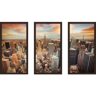 """New York City"" Framed Plexiglass Wall Art Set of 3"