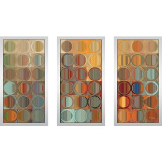 "Mark Lawrence ""Circles And Squares 15 Max"" Framed Plexiglass Wall Art Set of 3"