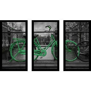 """Amsterdam Green Bike"" Framed Plexiglass Wall Art Set of 3"