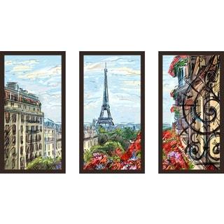 """Paris By Day"" Framed Plexiglass Wall Art Set of 3"