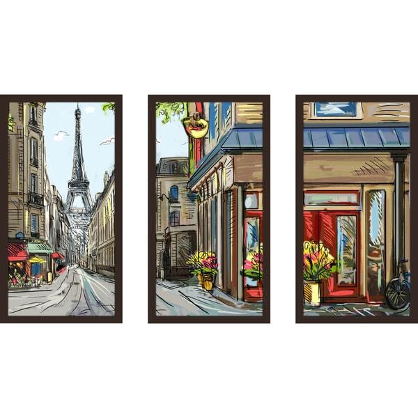 """""""Paris Belongs To Us"""" Framed Plexiglass Wall Art Set of 3"""
