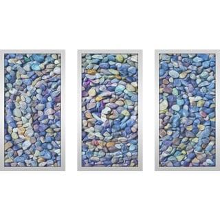 """Water Stones 7"" Framed Plexiglass Wall Art Set of 3"