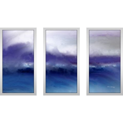 """Mark Lawrence """"A Change Is Gonna Come- Ii Max"""" Framed Plexiglass Wall Art Set of 3 - blue/purple/white"""