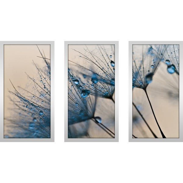 Flower water droplets 2 framed plexiglass wall art set