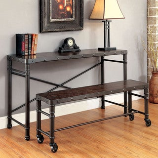 Furniture of America Stevens Industrial Steampunk Metal 46-inch Bench