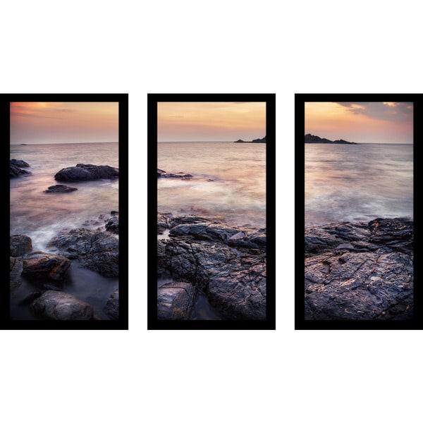 """Ocean Of Love"" Framed Plexiglass Wall Art Set of 3"