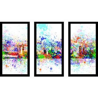 "Bekim Mehovic ""New York Skyline Splats Ii"" Framed Plexiglass Wall Art Set of 3"