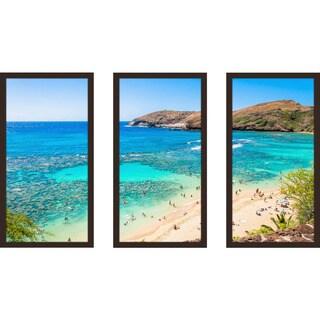 """Beach Please Xvi"" Framed Plexiglass Wall Art Set of 3"