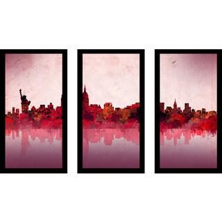 """Bekim Mehovic """"New York Skyline Red"""" Framed Plexiglass Wall Art Set of 3"""