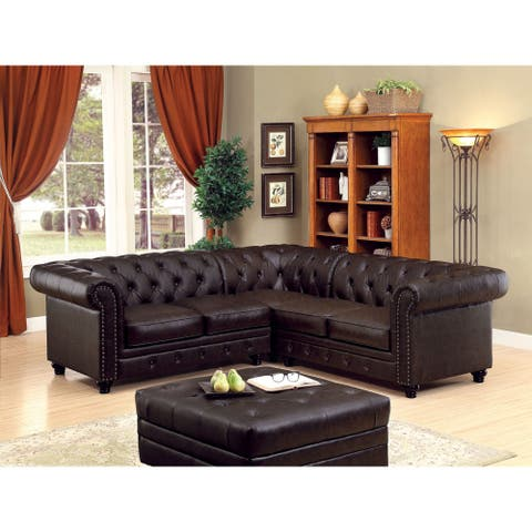 Furniture of America Mula Traditional Brown Leatherette Sectional Sofas