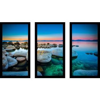 """Blue Waters"" Framed Plexiglass Wall Art Set of 3"