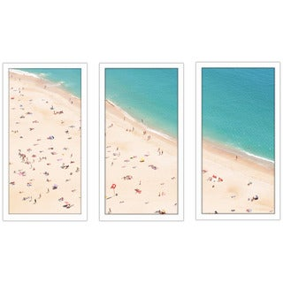 """Beach Please V"" Framed Plexiglass Wall Art Set of 3"