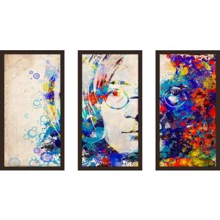 """Bekim Mehovic """"Imagine V"""" Framed Plexiglass Wall Art Set of 3"""
