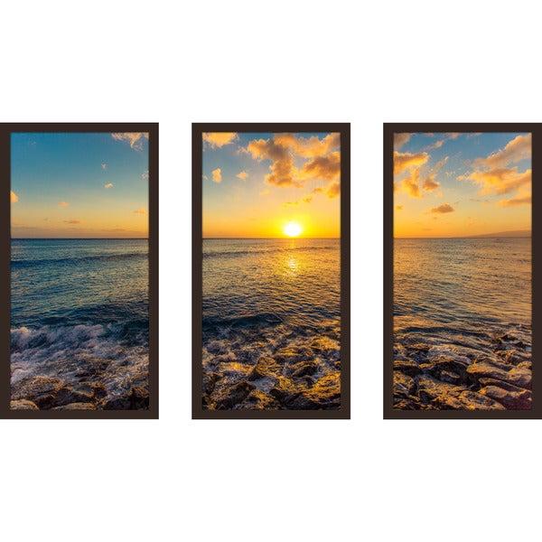 """""""Seaside Escape"""" Framed Plexiglass Wall Art Set of 3"""
