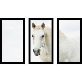"""White Beauty 3"" Framed Plexiglass Wall Art Set of 3"