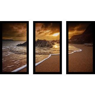 """""""Leas Foot, Salcombe, South Devon, Uk"""" Framed Plexiglass Wall Art Set of 3"""