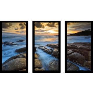 """Rocky Ocean"" Framed Plexiglass Wall Art Set of 3"