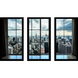 """New York Window"" Framed Plexiglass Wall Art Set of 3"