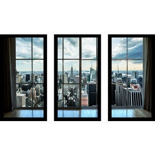 """ NewYork Window"" Framed Plexiglass Wall Art Set of 3"