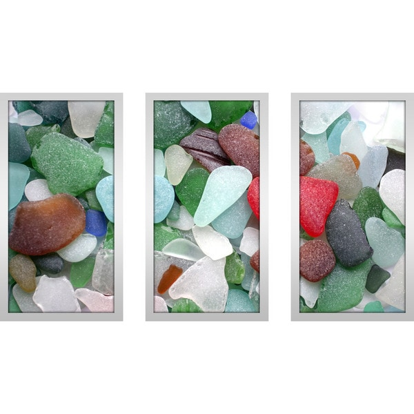 """Sea Glass 2"" Framed Plexiglass Wall Art Set of 3"