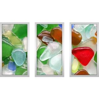 """Sea Glass 1"" Framed Plexiglass Wall Art Set of 3"