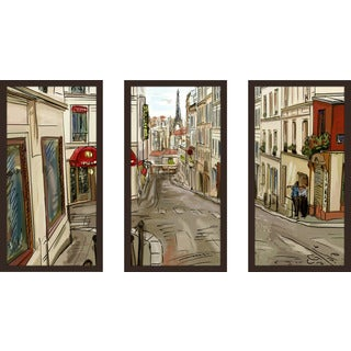"""Evening In Paris"" Framed Plexiglass Wall Art Set of 3"