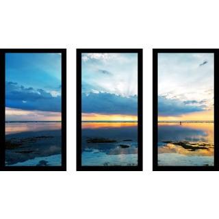 """Ocean Reflections"" Framed Plexiglass Wall Art Set of 3"