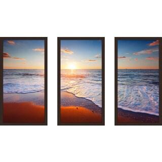 """""""Sunset Splendor 4"""" Framed Plexiglass Wall Art Set of 3"""