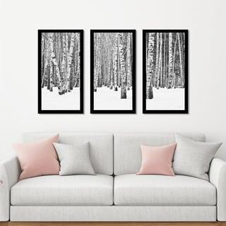 """""""Birch Trees In Winter"""" Framed Plexiglass Wall Art Set of 3"""