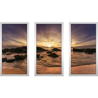 """""""Stunning Sun Dog Beach"""" Framed Plexiglass Wall Art Set of 3"""