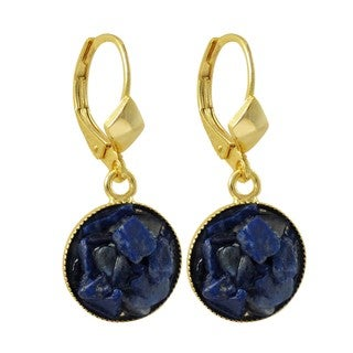 Luxiro Gold Finish Lapis Lazuli Semi-precious Gemstone Circle Dangle Earrings